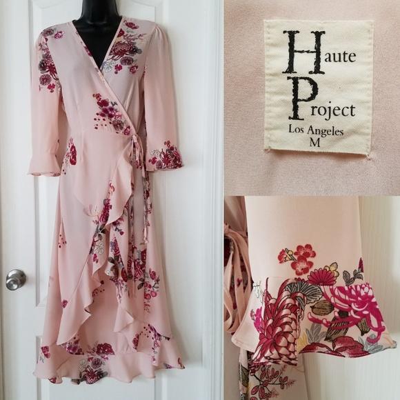 Haute Project Dresses & Skirts - Haute Project blush floral high-low wrap dress